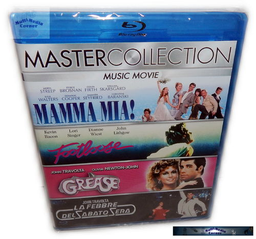 Music Collection [Blu-Ray] Mamma Mia! Footloose, Grease, Saturday Night Fever