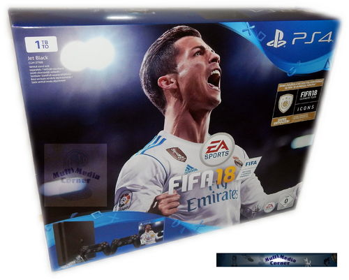 Sony PlayStation 4 Konsole slim - 1TB [PS4] inkl. 2 Controller & Fifa 18