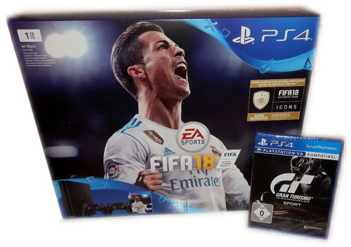 Sony PlayStation 4 Konsole slim - 1TB [PS4] +2. Controller + Fifa 18 + Gran Turismo