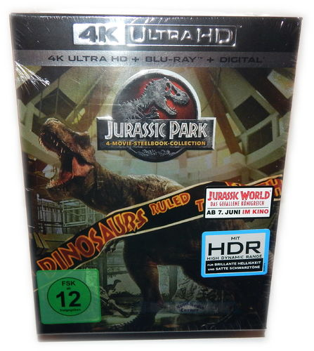 Jurassic World & Jurassic Park 1,2,3 [4K UHD+Blu-Ray] limited Steelbook Box